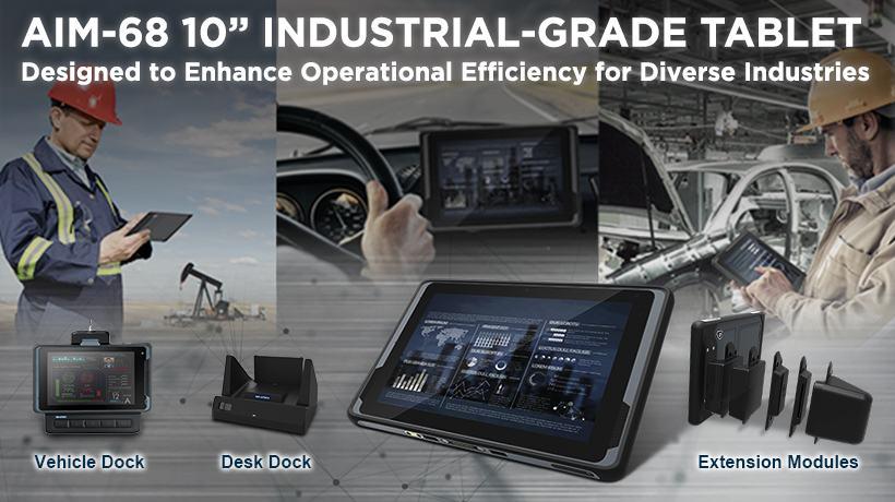 La tablette durcie Advantech AIM-68 et ses accessoires