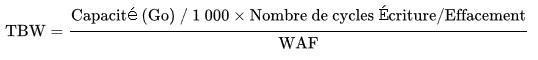Formule de calcul de TBW