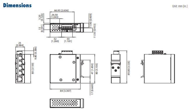 Dimensions du boitier de l'EKI-2525LI