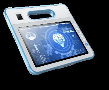 """Une tablette tactile 10"""" avec poignée conçue pour le domaine médical"""