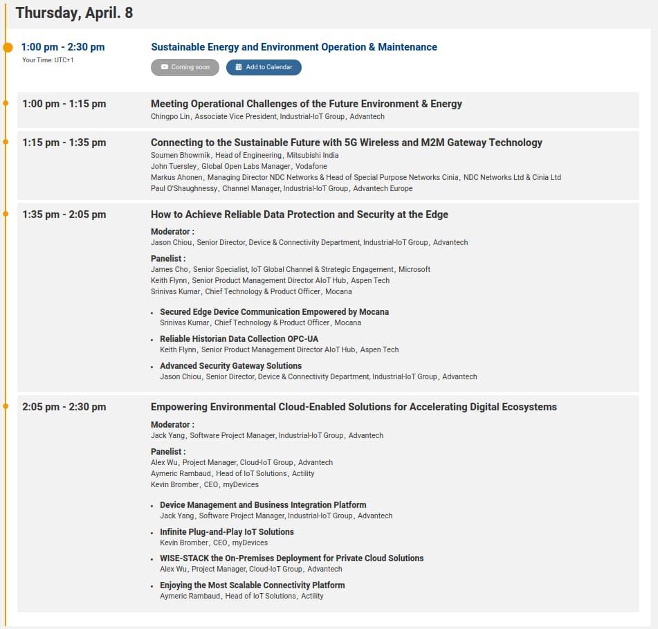 Programme du 8 avril après-midi Advantech connect